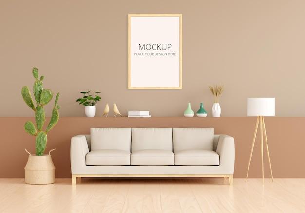 Диван в интерьере коричневой гостиной со свободным пространством с макетом рамы