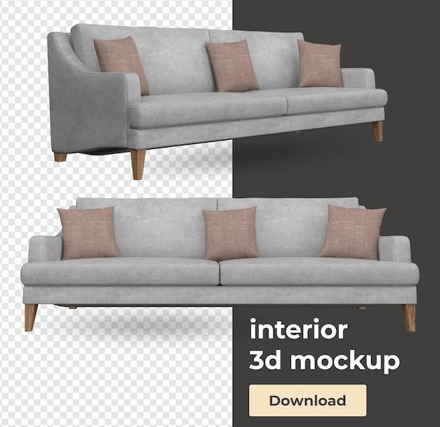 Sofa interior decoration set in 3d render mockup