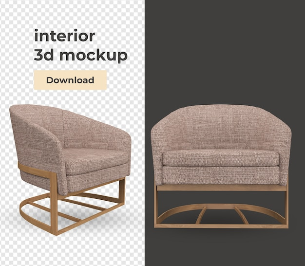 Sofa interior decoration set in 3d render mockup Premium Psd