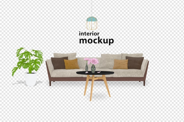 Sofa interior mockup 3d rendering isolated