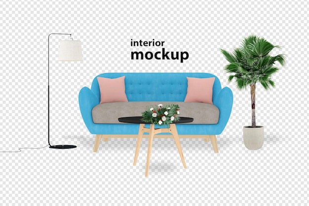Sofa interior mockup 3d rendering