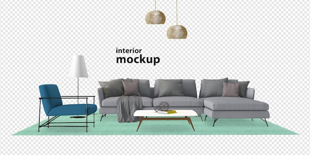 Sofa interior mockup rendering isolated