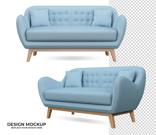Sofa rendering with modern interior style