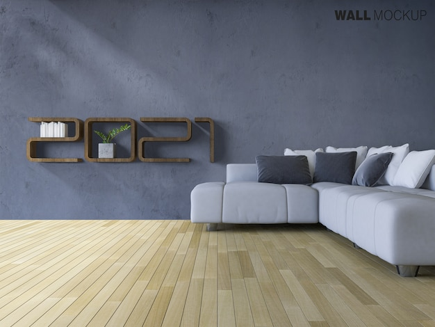 Sofa set on wooden floor with mockup wall Premium Psd