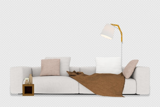 Sofa, table and lamp mockup in 3d rendering isolated