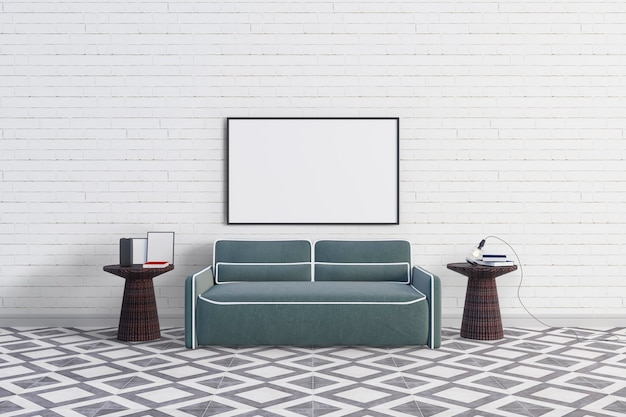 Sofa with big picture frame