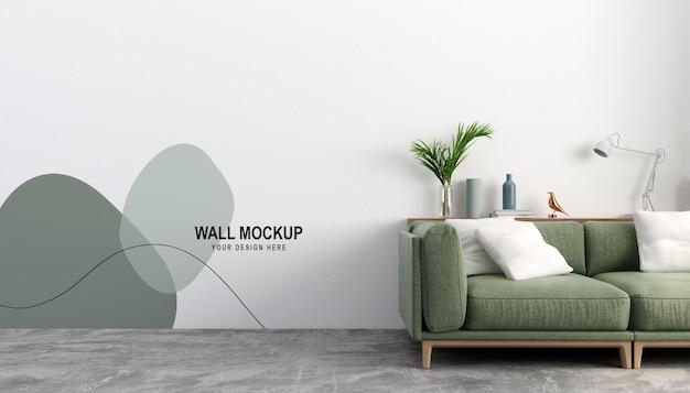 Диван с дизайном макета белой стены в 3d рендеринге