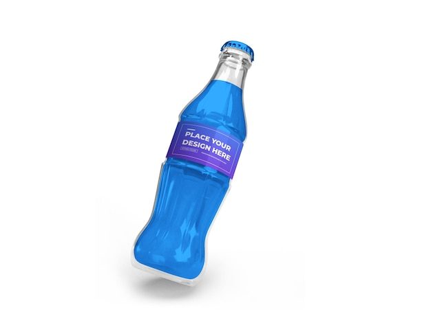 Бутылка безалкогольного напитка 3d mockup design