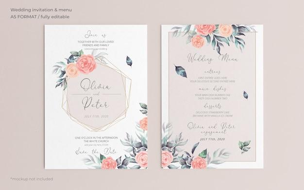 柔らかい花の結婚式の招待状とメニューテンプレート
