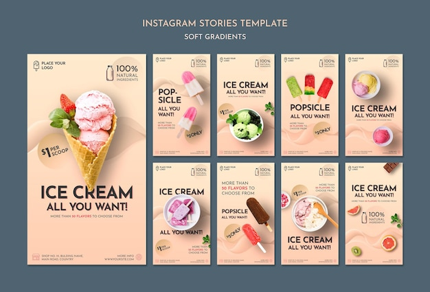 Soft gradient ice cream social media stories