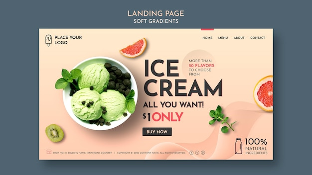 Веб-шаблон с мягким градиентом мороженого