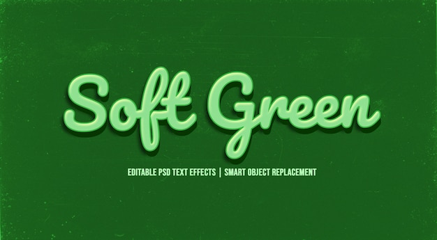 Soft green  3d text style effect