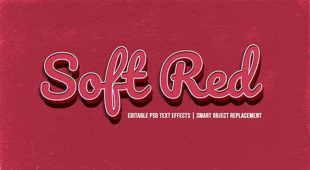 Soft red  3d text style effect