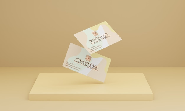 Soft yellow background business card mockup