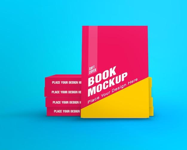Вид передней обложки макета книги в мягком переплете и вид стека обложки корешка изолированы