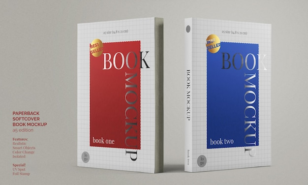 Softcover paperback a5 book with foil stamp and uv spot print mockup
