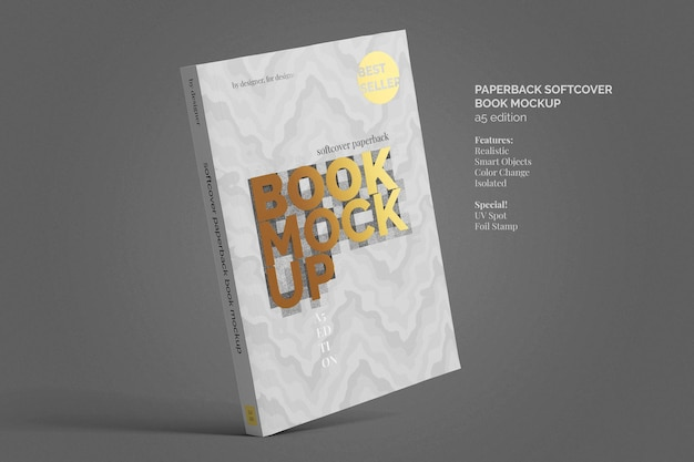 Softcover paperback book mockup top view