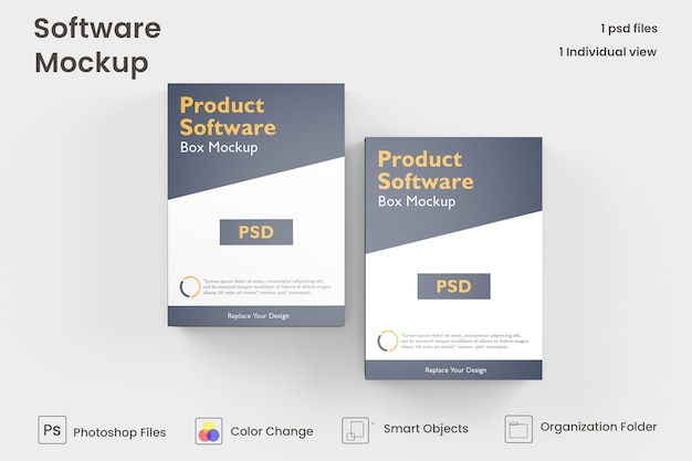 Программный макет коробки free psd