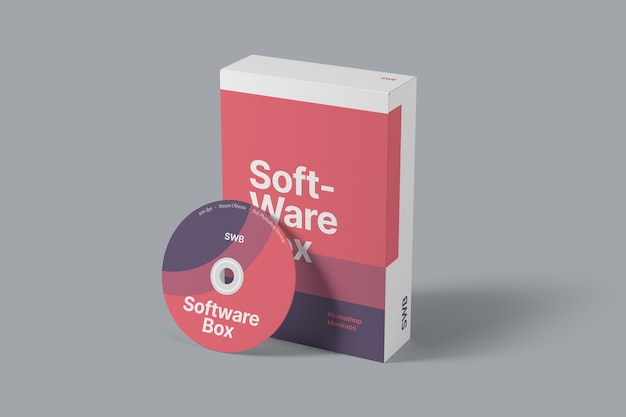 Software box packaging mockup perspective view
