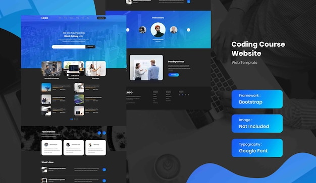 Software and coding online course landing page website template in dark mode