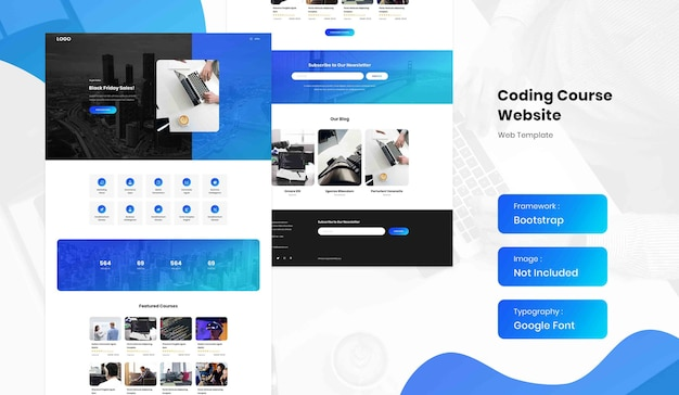Software and coding online course landing page website template