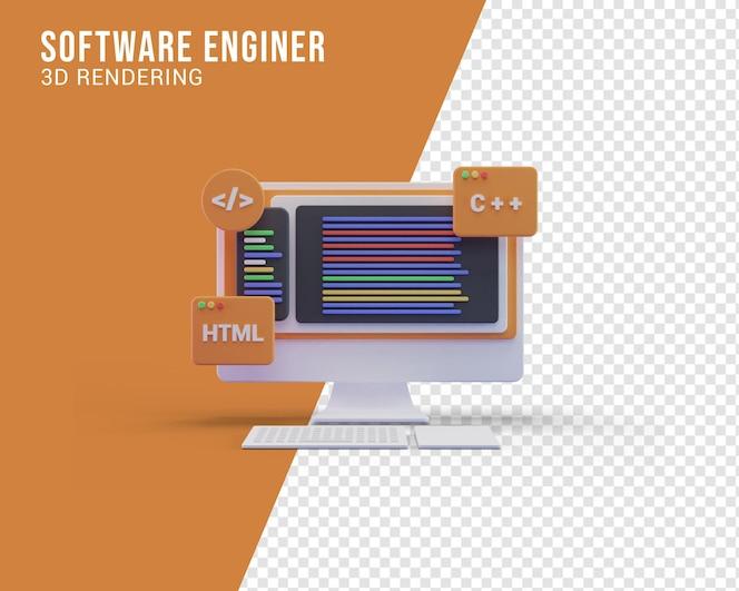 Concetto di illustrazione dello schermo del computer dell'ingegnere del software, rendering 3d