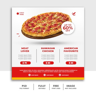 Solcial media post square banner template for restaurant fastfood delicious pizza