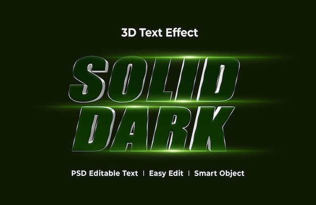Solid dark 3d text effect mockup template