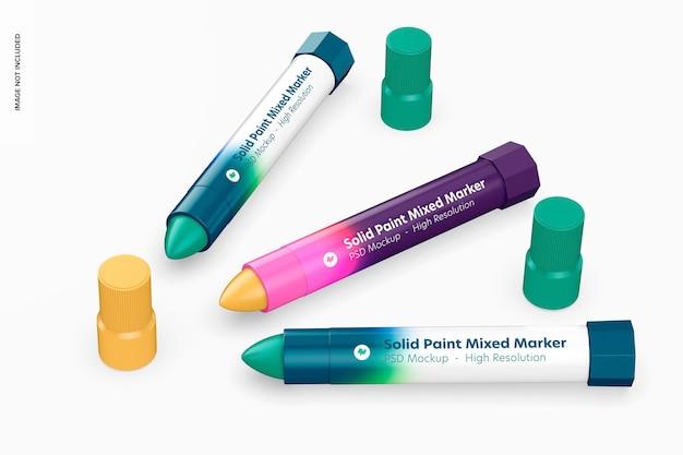 Набор смешанных маркеров твердой краской, макет