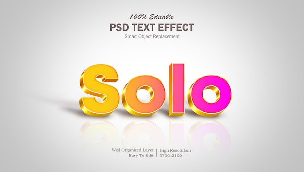 Solo 3d text effect template with shadows