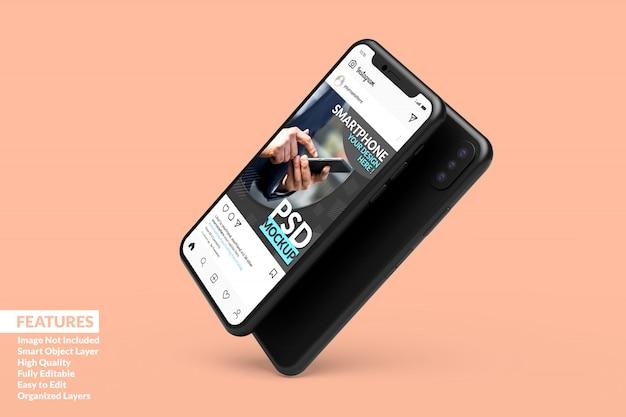 Sosialメディア投稿テンプレートプレミアムを表示するために浮動するスマートフォンデジタルデバイスのモックアップ