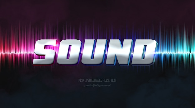 Sound 3d text style effect