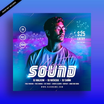 Sound night dj party flyer template
