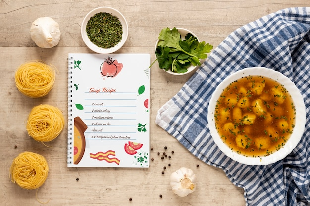 Soup with composition of ingredients and recipe mock-up