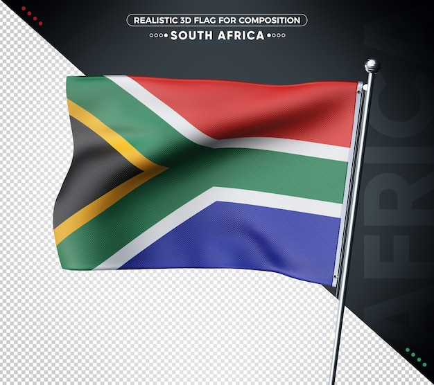 South africa 3d flag with realistic texture