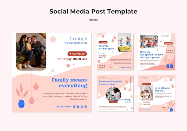 Soxial media post of quality time with family template