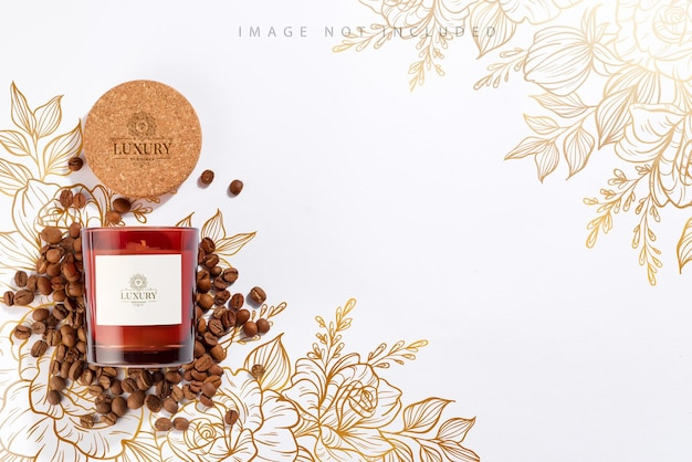 Soy candle in dark amber glass bottles with cover mockup and coffee beans on white