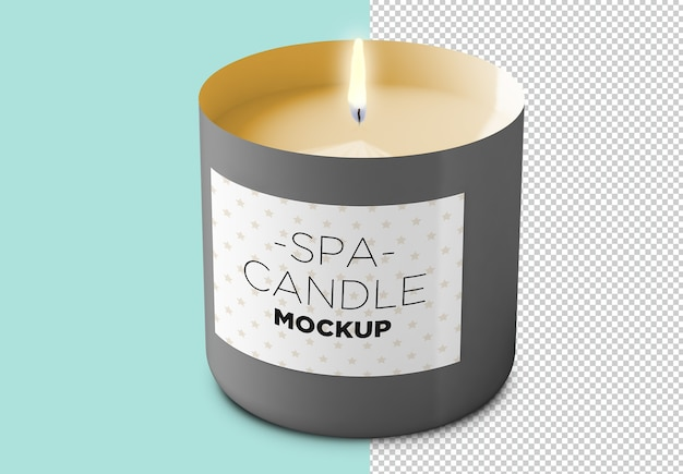 Spa candle with label mockup isolated