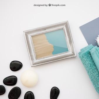 Спа-макет с камнями и рамкой