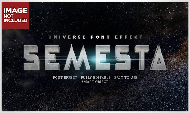 Space 3​d metal iron font effect