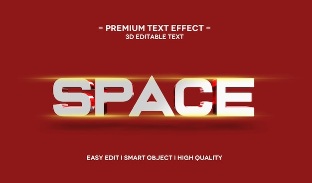 Space 3d text style effect template with flare