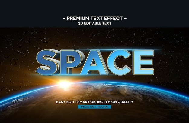 Space 3d text style effect text template