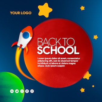Space banner social media back to school with rocket, planets and stars