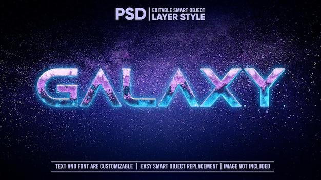 Космическая галактика космический светящийся астероид скала 3d редактируемый текстовый эффект стиля слоя