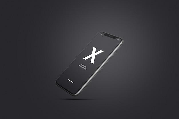 Space grey or black mobile phone mockup