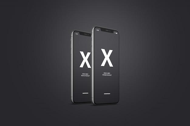 Космический серый мобильный телефон макет
