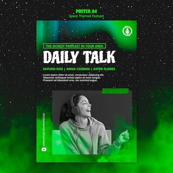Modello di poster podcast a tema spaziale