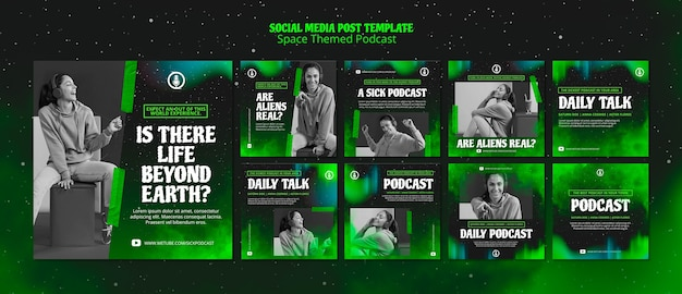 Space themed podcast template for social media post