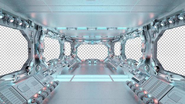 Spaceship interior with isolated window mockup