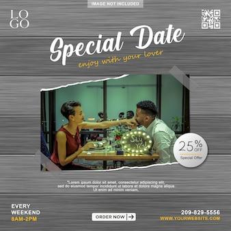 Spacial date menu promotion social media banner post template
